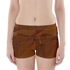 Brown Background Waves Abstract Brown Ribbon Swirling Shapes Boyleg Bikini Wrap Bottoms
