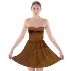 Brown Background Waves Abstract Brown Ribbon Swirling Shapes Strapless Bra Top Dress