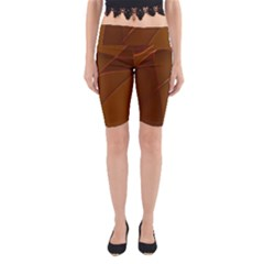 Brown Background Waves Abstract Brown Ribbon Swirling Shapes Yoga Cropped Leggings