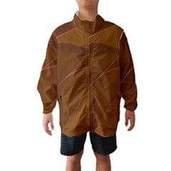 Brown Background Waves Abstract Brown Ribbon Swirling Shapes Wind Breaker (kids)