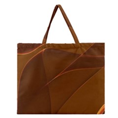 Brown Background Waves Abstract Brown Ribbon Swirling Shapes Zipper Large Tote Bag