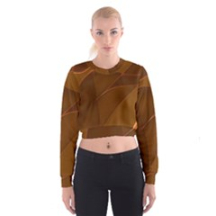 Brown Background Waves Abstract Brown Ribbon Swirling Shapes Women s Cropped Sweatshirt