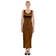 Brown Background Waves Abstract Brown Ribbon Swirling Shapes Fitted Maxi Dress