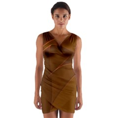 Brown Background Waves Abstract Brown Ribbon Swirling Shapes Wrap Front Bodycon Dress
