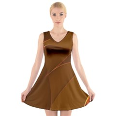Brown Background Waves Abstract Brown Ribbon Swirling Shapes V-Neck Sleeveless Skater Dress