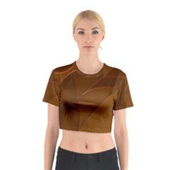 Brown Background Waves Abstract Brown Ribbon Swirling Shapes Cotton Crop Top