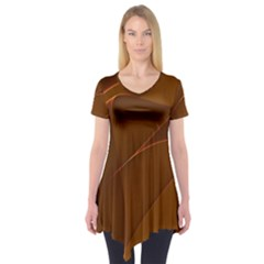 Brown Background Waves Abstract Brown Ribbon Swirling Shapes Short Sleeve Tunic
