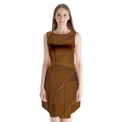Brown Background Waves Abstract Brown Ribbon Swirling Shapes Sleeveless Chiffon Dress