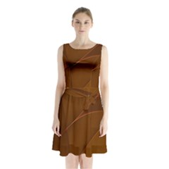 Brown Background Waves Abstract Brown Ribbon Swirling Shapes Sleeveless Chiffon Waist Tie Dress