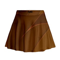 Brown Background Waves Abstract Brown Ribbon Swirling Shapes Mini Flare Skirt