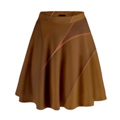 Brown Background Waves Abstract Brown Ribbon Swirling Shapes High Waist Skirt