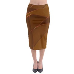 Brown Background Waves Abstract Brown Ribbon Swirling Shapes Midi Pencil Skirt