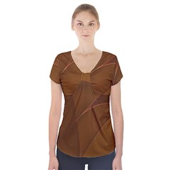 Brown Background Waves Abstract Brown Ribbon Swirling Shapes Short Sleeve Front Detail Top