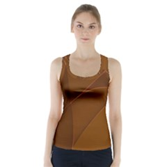Brown Background Waves Abstract Brown Ribbon Swirling Shapes Racer Back Sports Top