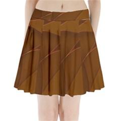 Brown Background Waves Abstract Brown Ribbon Swirling Shapes Pleated Mini Skirt