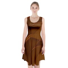 Brown Background Waves Abstract Brown Ribbon Swirling Shapes Racerback Midi Dress