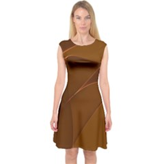 Brown Background Waves Abstract Brown Ribbon Swirling Shapes Capsleeve Midi Dress