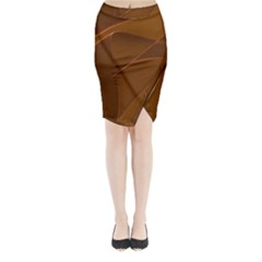 Brown Background Waves Abstract Brown Ribbon Swirling Shapes Midi Wrap Pencil Skirt