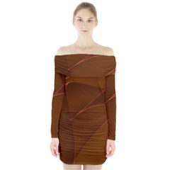 Brown Background Waves Abstract Brown Ribbon Swirling Shapes Long Sleeve Off Shoulder Dress