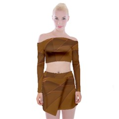 Brown Background Waves Abstract Brown Ribbon Swirling Shapes Off Shoulder Top With Skirt Set