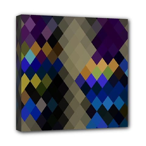Background Of Blue Gold Brown Tan Purple Diamonds Mini Canvas 8  x 8