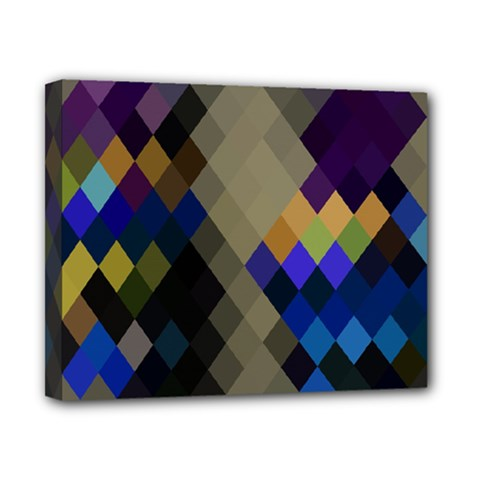 Background Of Blue Gold Brown Tan Purple Diamonds Canvas 10  X 8