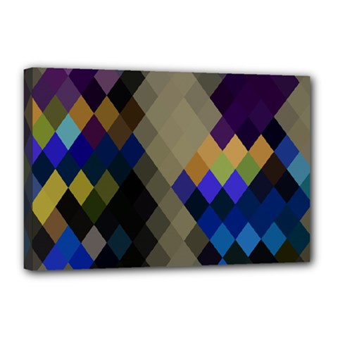 Background Of Blue Gold Brown Tan Purple Diamonds Canvas 18  X 12