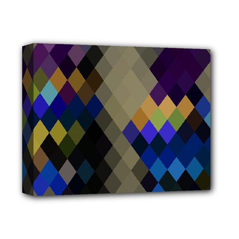 Background Of Blue Gold Brown Tan Purple Diamonds Deluxe Canvas 14  X 11