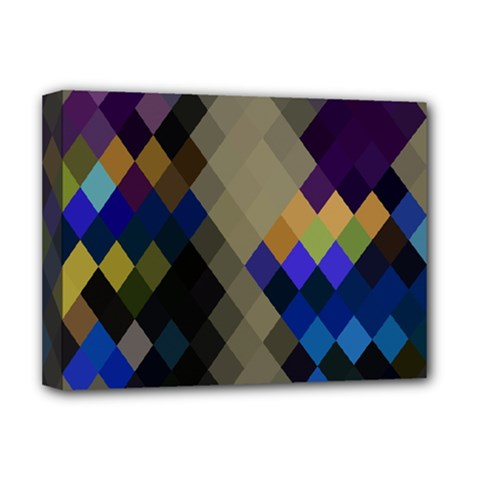 Background Of Blue Gold Brown Tan Purple Diamonds Deluxe Canvas 16  x 12