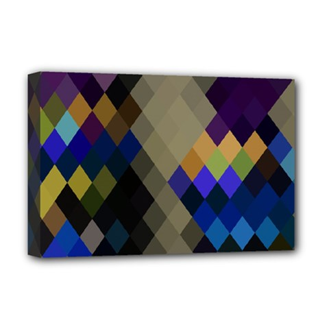 Background Of Blue Gold Brown Tan Purple Diamonds Deluxe Canvas 18  X 12