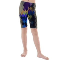 Background Of Blue Gold Brown Tan Purple Diamonds Kids  Mid Length Swim Shorts