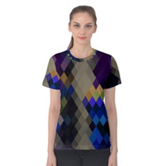 Background Of Blue Gold Brown Tan Purple Diamonds Women s Cotton Tee