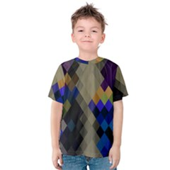 Background Of Blue Gold Brown Tan Purple Diamonds Kids  Cotton Tee