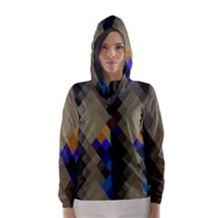 Background Of Blue Gold Brown Tan Purple Diamonds Hooded Wind Breaker (women)