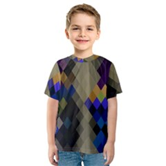 Background Of Blue Gold Brown Tan Purple Diamonds Kids  Sport Mesh Tee