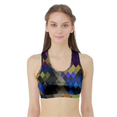 Background Of Blue Gold Brown Tan Purple Diamonds Sports Bra with Border