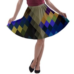 Background Of Blue Gold Brown Tan Purple Diamonds A-line Skater Skirt