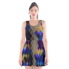 Background Of Blue Gold Brown Tan Purple Diamonds Scoop Neck Skater Dress