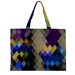 Background Of Blue Gold Brown Tan Purple Diamonds Large Tote Bag