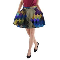 Background Of Blue Gold Brown Tan Purple Diamonds A-Line Pocket Skirt