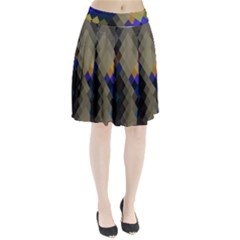 Background Of Blue Gold Brown Tan Purple Diamonds Pleated Skirt