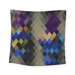 Background Of Blue Gold Brown Tan Purple Diamonds Square Tapestry (small)