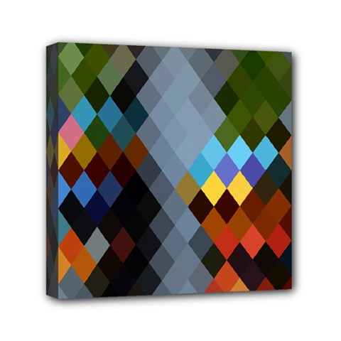 Diamond Abstract Background Background Of Diamonds In Colors Of Orange Yellow Green Blue And More Mini Canvas 6  X 6