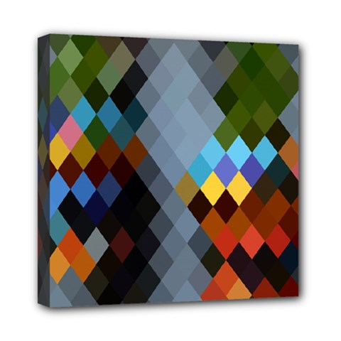 Diamond Abstract Background Background Of Diamonds In Colors Of Orange Yellow Green Blue And More Mini Canvas 8  X 8