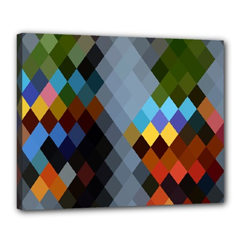 Diamond Abstract Background Background Of Diamonds In Colors Of Orange Yellow Green Blue And More Canvas 20  X 16