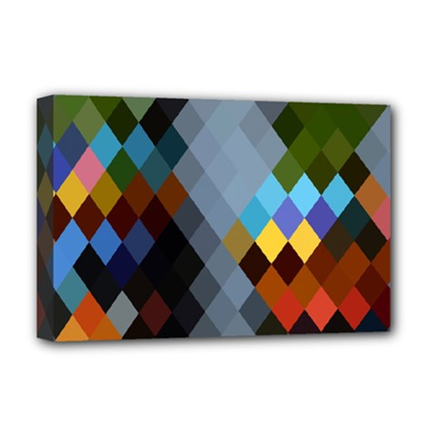Diamond Abstract Background Background Of Diamonds In Colors Of Orange Yellow Green Blue And More Deluxe Canvas 18  x 12