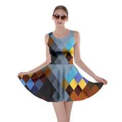 Diamond Abstract Background Background Of Diamonds In Colors Of Orange Yellow Green Blue And More Skater Dress