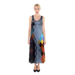 Diamond Abstract Background Background Of Diamonds In Colors Of Orange Yellow Green Blue And More Sleeveless Maxi Dress
