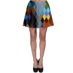 Diamond Abstract Background Background Of Diamonds In Colors Of Orange Yellow Green Blue And More Skater Skirt