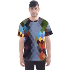 Diamond Abstract Background Background Of Diamonds In Colors Of Orange Yellow Green Blue And More Men s Sport Mesh Tee